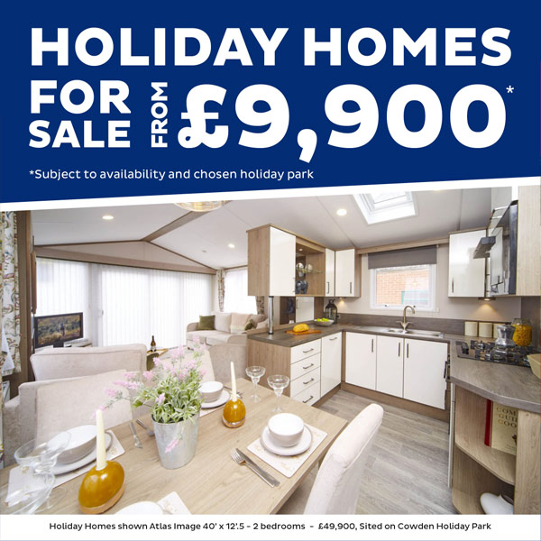 Holiday homes for sale from £9,900. Subject to availabilty and chosen holiday park. Holiday homes shown Atlas Image 40' x 12'.5 - 2 bedrooms - £49,900, Sited on Cowden Holiday Park
