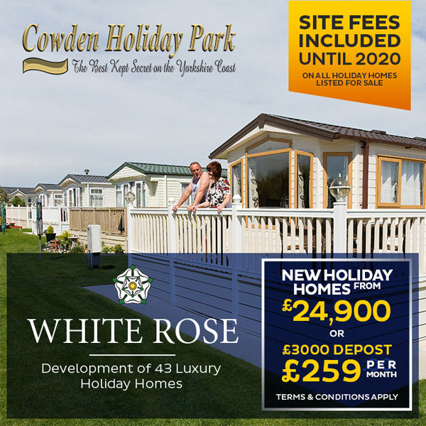 White Rose. Development of 43 Luxury Holiday Homes. New Holiday Homes from £24,900 or £3000 deposit and £259 per month.